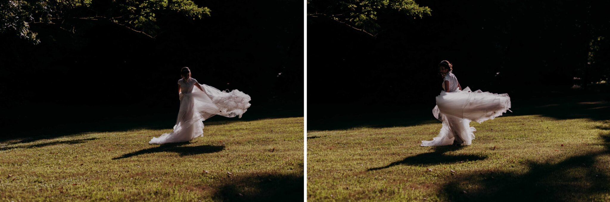 la sposa che danza con il suo abito a Villa Grabau