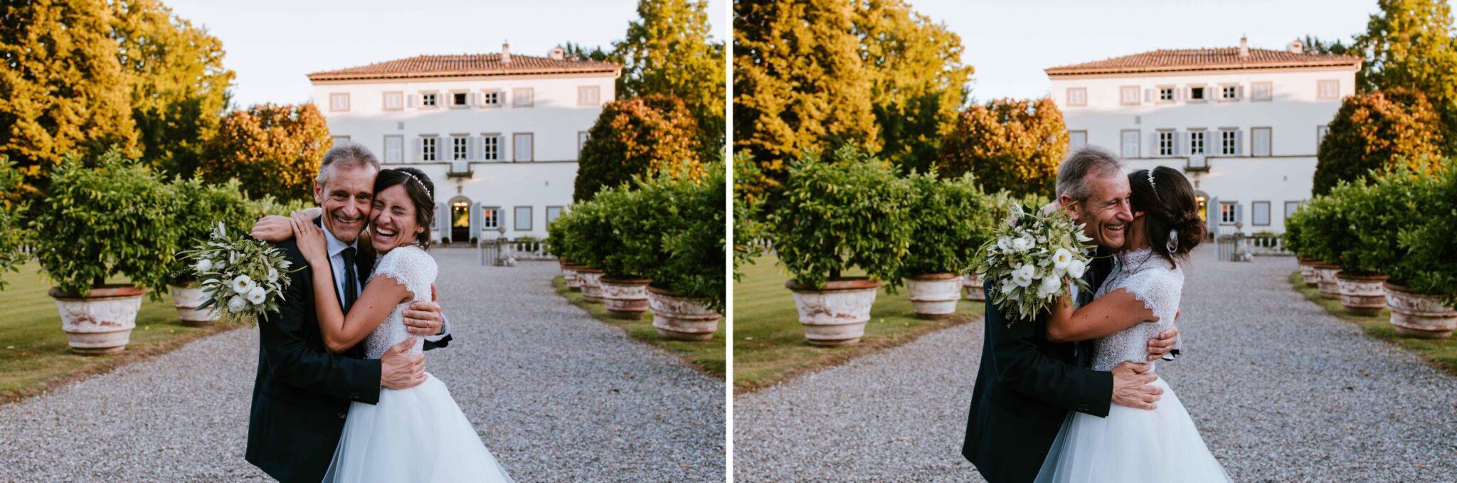 foto con il papà a Villa Grabau