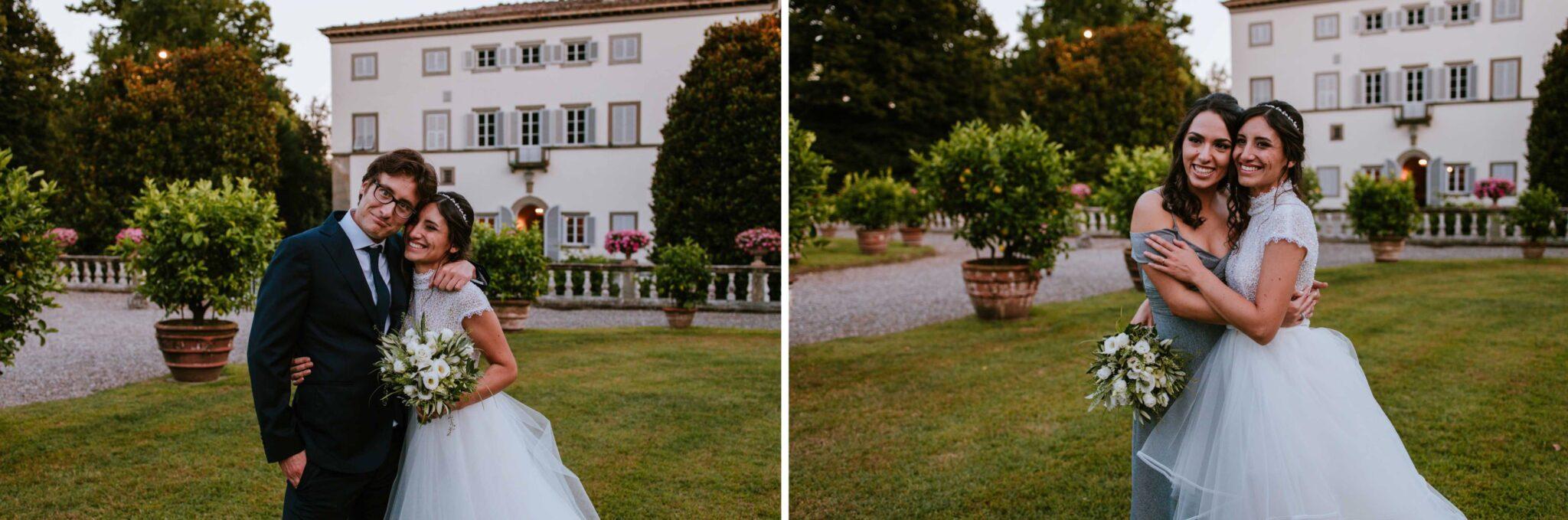 la sposa e i suoi amici a Villa Grabau, Lucca