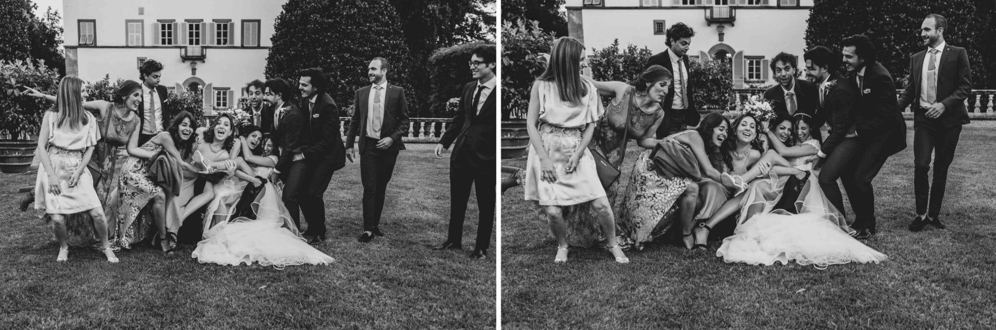 sequenza degli scherzi a Villa Grabau, Lucca, durante un matrimonio