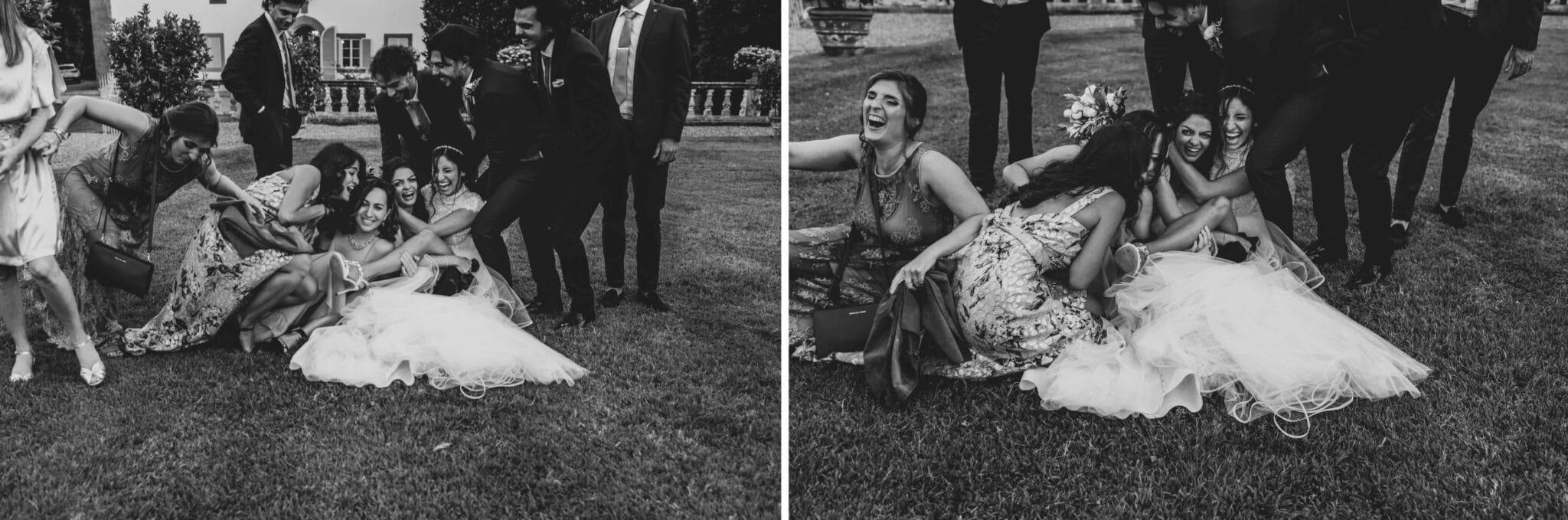 sequenza degli scherzi a Villa Grabau durante un matrimonio