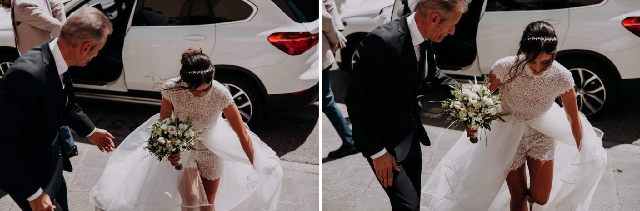 sequenza dell'arrivo della sposa alla chiesa di Altopascio