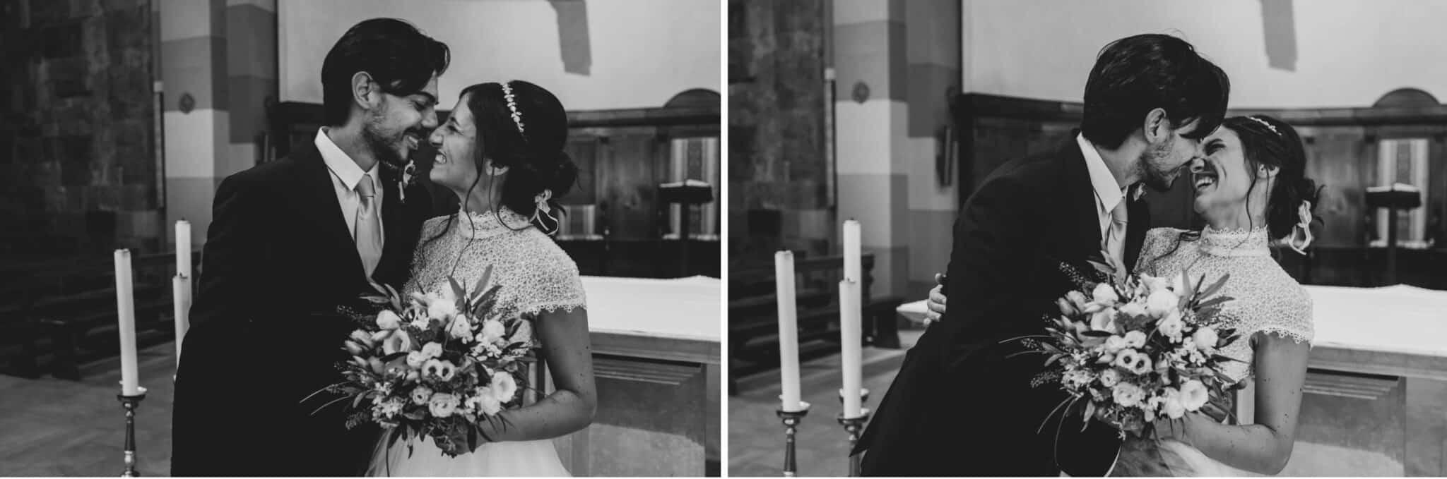 bacio tra la coppia di sposi ad un matrimonio ad Altopascio