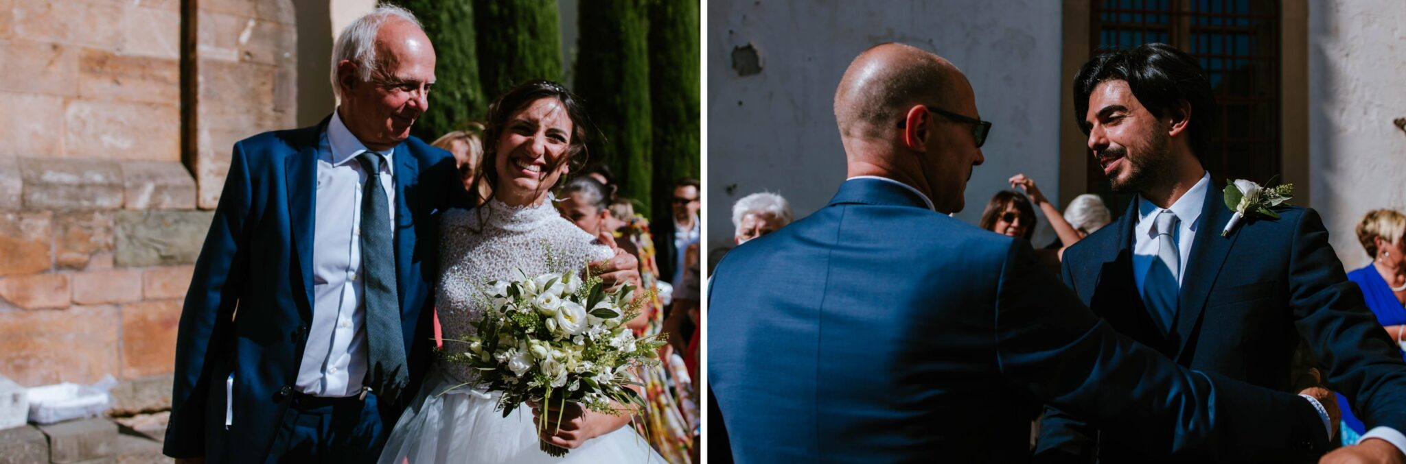 saluti e abbracci durante un matrimonio ad Altopascio