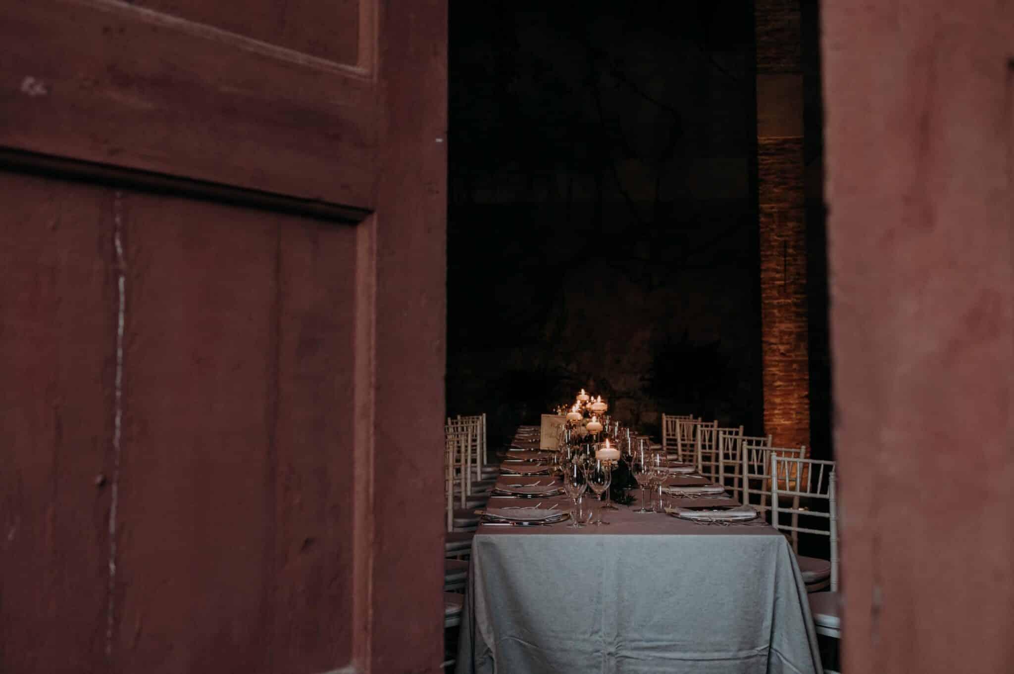 allestimento tavola in Villa Grabau