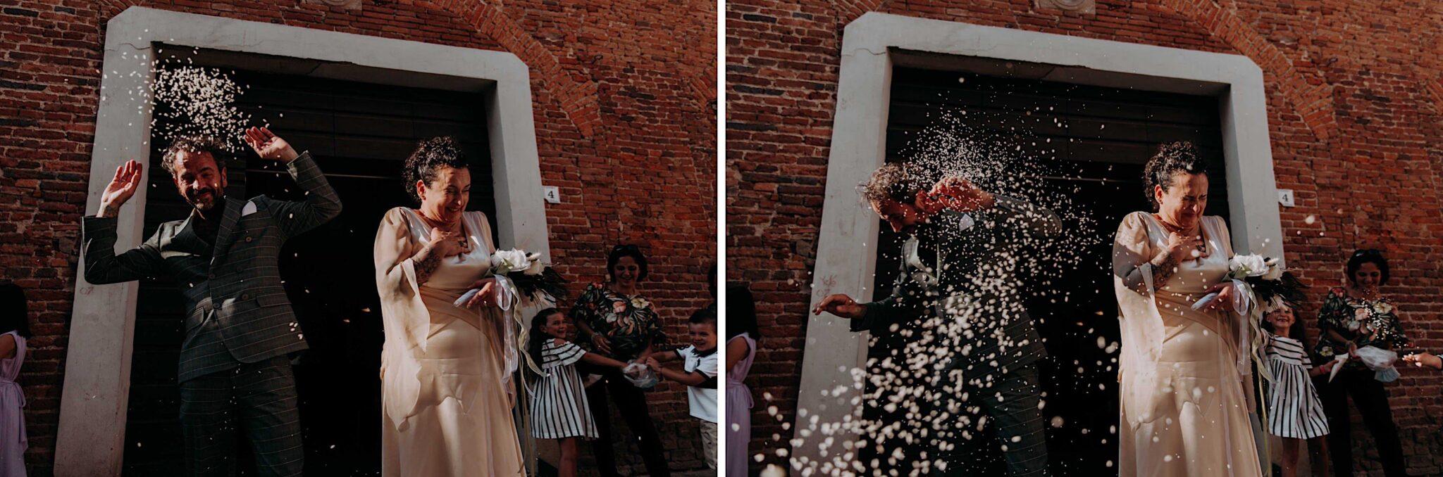 lancio del riso alla sala del comune di Altopascio
