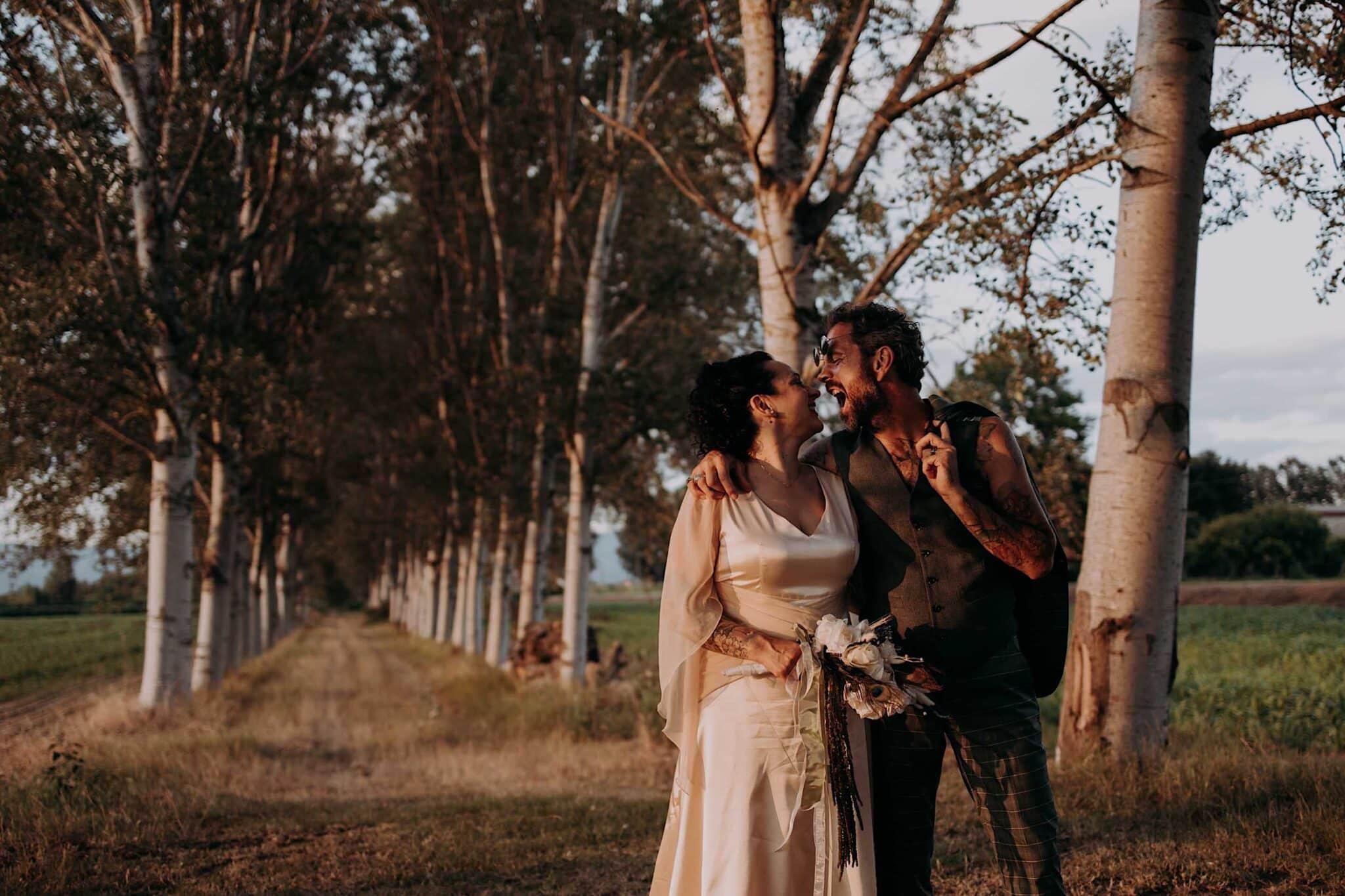 servizio fotografico con gli sposi all'agriturismo Settepassi