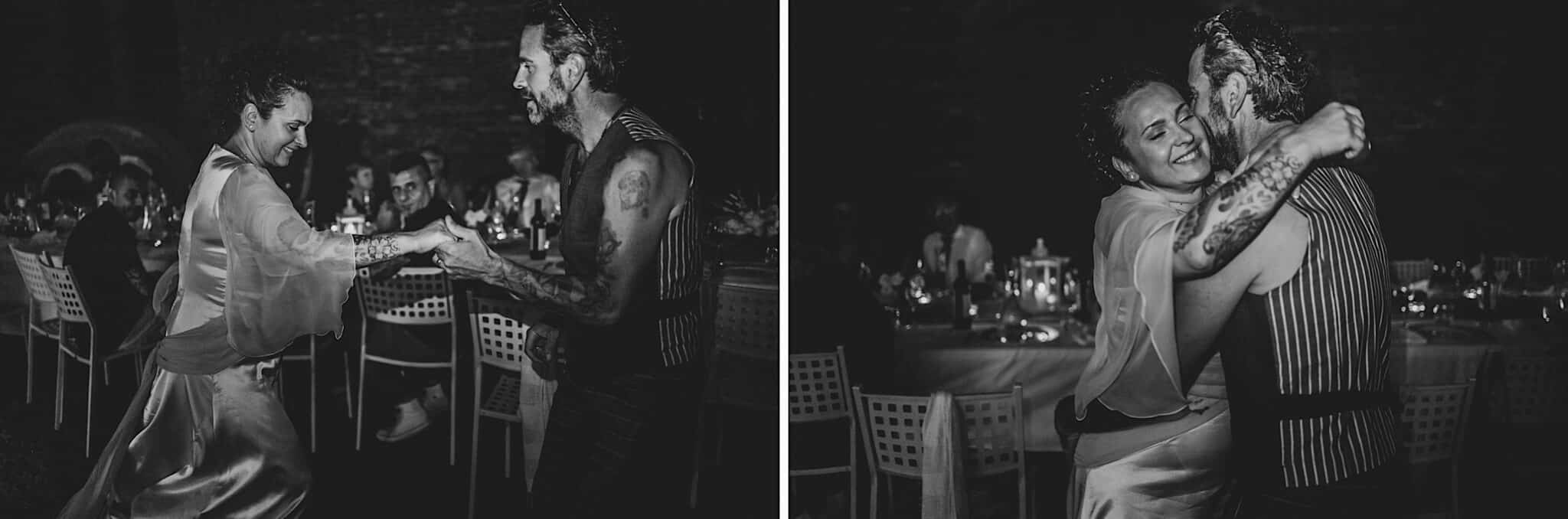 The first dance, wedding in Tuscany