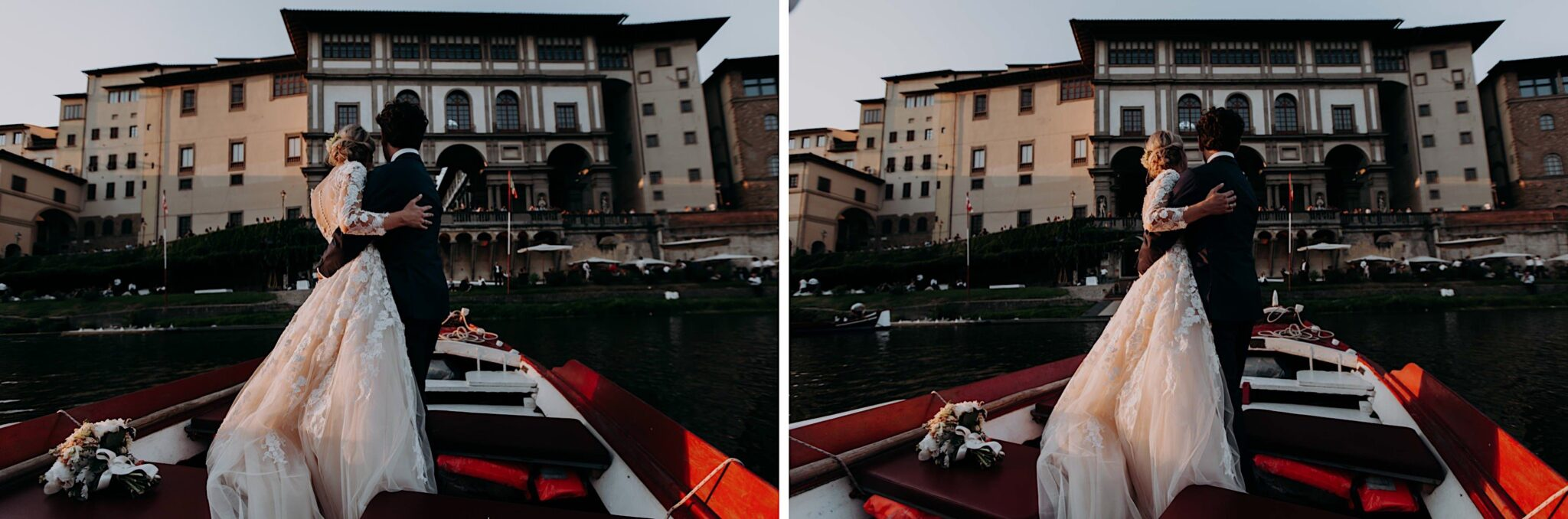 in barca sull'Arno, con vista del Palazzo Vecchio di Firenze