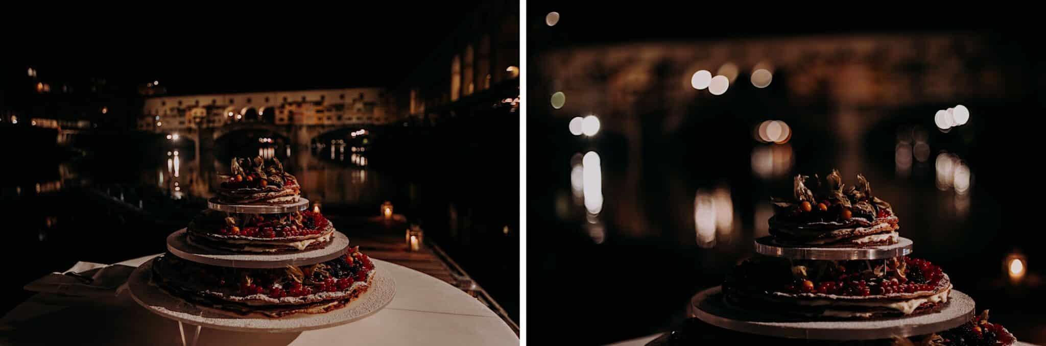 taglio della torta con vista del Ponte Vecchio, società dei Canottieri di Firenze