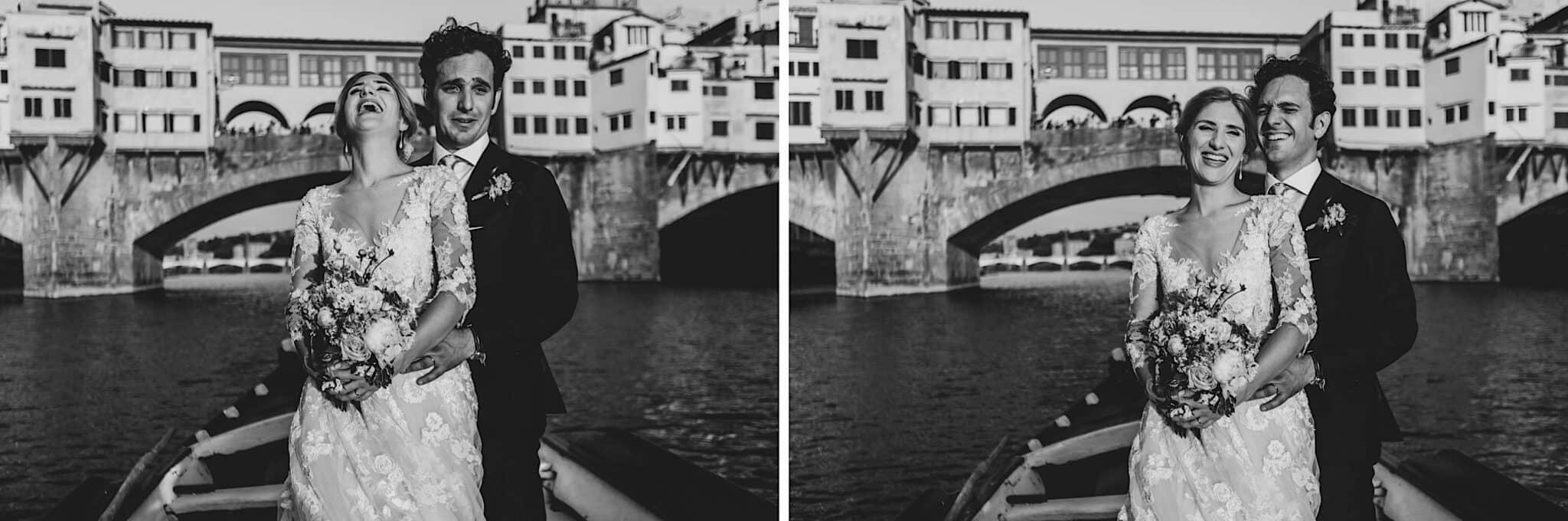 in barca con vista il Ponte Vecchio a Firenze